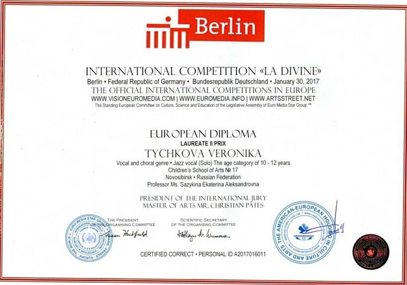 Результаты участия в международных конкурсах учебный год  Диплом